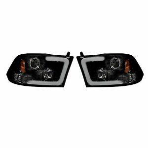 RECON 264270BKC Dodge Ram 09-14 1500  2500  3500 Smoked-Black Headlights