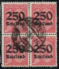 GERMANY 1923 OFFICIAL STAMP DIENST Mi. # 93 INFLATION USED BLOCK OF FOUR