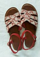 Toms Canvas Sandals Size 9.5 Red/White Ankle Strap Flats