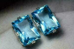 6Ct Emerald Cut Blue Topaz Solitaire Prong Stud Earrings 14K White Gold Finish