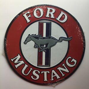 "FORD MUSTANG Embossed Vintage Style Metal Sign 12"" Diameter NEW"