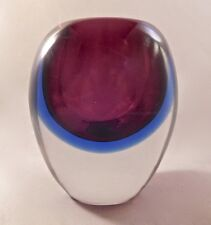 Mid Century Modern Murano Art Glass Sommerso Amethyst & Cobalt Blue Cabinet Vase