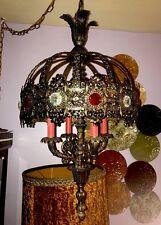 Gothic Medieval Hanging Ceiling Chandelier Light Castle Candelabra Ornate Brass