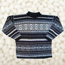 Vintage 90s Colorful Knit Crewneck Sweater Geometric Sz Medium