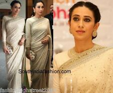 Indian Pakistani Bridal Designer Karishma Kapoor Party Wear White Saree, sari
