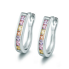 Vintage Retro White Gold Filled Colorful Crystal Gems U Huggie Ladies Earrings