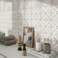 Sample: Antique Grey Encaustic Effect Patterned Moroccan Wall & Floor Tiles STA