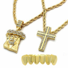 "Men 14k Gold Plated 2 pcs Jesus + Cross 4mm 30"" & 24"" Rope chain Bottom Grillz"