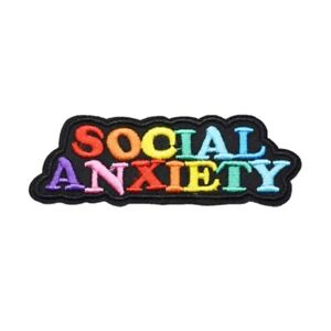 Social Anxiety Rainbow Funny Humor Punk Biker Embroidered Patch - Iron On/Sew On