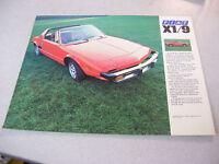 Rare 1976 FIAT X1/9 Automobile Brochure/Specifications