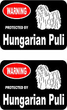 2 protected by Hungarian Puli dog car bumper home window vinyl decals stickers