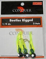 2-Beetle Bodied Grub With Jig head 3pack 1/8oz Bass Crappie