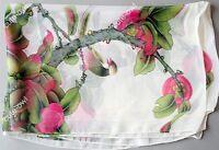 Elegant Women's White Floral Print Georgette Chiffon Wrap Shawl Silk Scarf