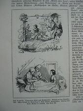RAGAZZA MALATA E BAMBINA CHE GIOCA  -  antica stampa - 1910