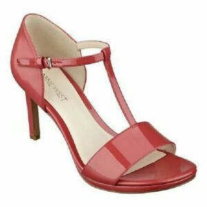 SEXY Nine West MAKEUP US 12 M Coral Pink Leather Open Toe T Strap Pumps