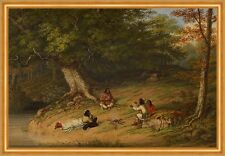 Midday Rest Cornelius David Krieghoff Indianer Wald Pause Familie B A2 01329