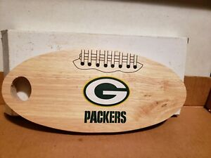 Green Bay Packers NFL Football Wooden Cutting Board Meat + Cheese Platter