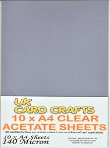 10 A4 Acetate Sheets TRANSPARENCY OHP ACETATE FILM WOW! 140 Micron