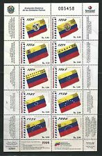 Venezuela: 2009; Scott 1697,1698 history of the Venezuelan flags Mint NH. VE364