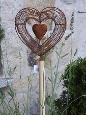 Edelrost Herz Holzstab Garten Beet Terrasse Topfstecker Dekoration Skulptur