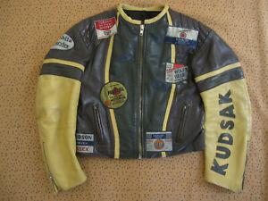 Blouson Kudsak vintage Veste moto blouson retro Veste cuir Homme - L