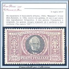 1923 Italia Regno Manzoni L. 5  n. 156 Centrato Certific. Diena Nuovo Integro **