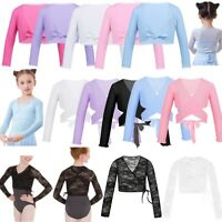 Kids Girls Lace Ballet Gymnastics Wraps Top Cardigan Dance Wear Sweaters Dress