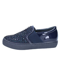 womens shoes SARA LOPEZ 3 (EU 36) slip on blue patent Leather strass BX708-36