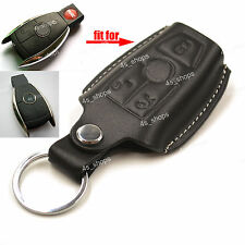 Black Leather Cover Smart Remote Key Case Holder Chain Bag For Benz C300 E350 SL