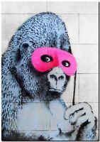 "BANKSY STREET ART CANVAS PRINT Ape gorilla 24""X 32"" stencil poster"