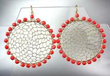 CHIC Urban Artisanal Red Coral Beads Gold Honeycomb Wire Chandelier Earrings