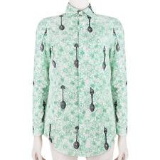 Julien David White Green Pixelated Spoon Print Slim-Fit Shirt Blouse S UK8