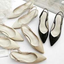 Women's Block Heel Sandals Genuine Leather Pointed Toe Slingback Shoes Plus Size