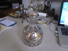 old Black, Star & Frost Art Nouveau Sterling Silver Overlay Cast Glass Decanter