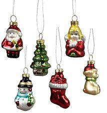 Set of 6 Glitzy Glass Mini Christmas Tree Hanging Decorations  Sass & Belle