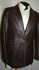 LEATHER ELEMENTS -ENGLAND SMART ELEGANT BROWN LEATHER JACKET UK 14 EU 44