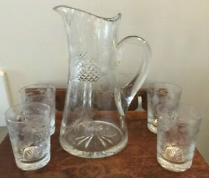 Vintage Etched Crystal Large Water Pitcher W/ 4 Glasses