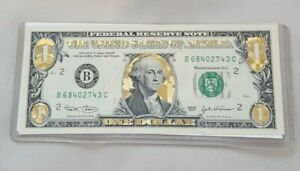 22 K GOLD $ 1 DOLLAR BILL HOLOGRAM COLORIZED*USA NOTE* LEGAL