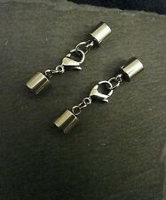2 Sets of 13mm Stainless Steel Lobster Clasp & End Caps for 5.5mm to 6mm Cord UK