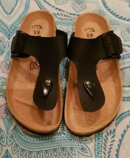 BIRKENSTOCK Black Leather Gizeh Sandals T Bar Like New C17*