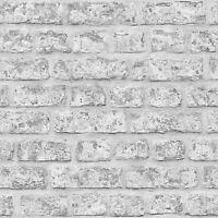 Rústico Ladrillo Papel Pintado - Gris - Arthouse 889606 pared NUEVO