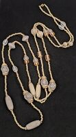Gold Tone Beige Gray Acrylic Textured Carved Style Bead Long Necklace 14042