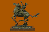 Signed Remington Cowboy Charges Bronze Sculpture Statue Marble Base Art Figurine