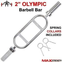 "Olympic 2"" Tricep bar Barbell with 2 X Spring Collars weight lifting training"