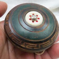 """vintage 3 inch YO-YO / marked """"DAVE"""" / greek key design w/ red foil dots"""