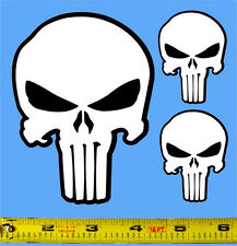 The Punisher Skull - Set of 3 HQ 2 Color White on Black Vinyl Sticker Decals!