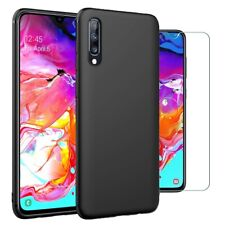 For Samsung Galaxy A70 Case Slim Silicone Cover & Glass Screen Protector