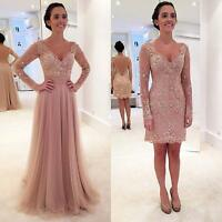 Crystal Two Pieces Skirt V-neck Long Sleeve Prom Party Gown Formal Evening Dress