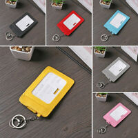 Portable Multi Color ID Card Holder Bus Cards Cover Case Keychain Keyring Tool