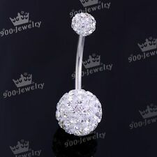 Stainless Steel Clear Czech Crystal Navel Bar Stud Belly Ring Piercing 14G
